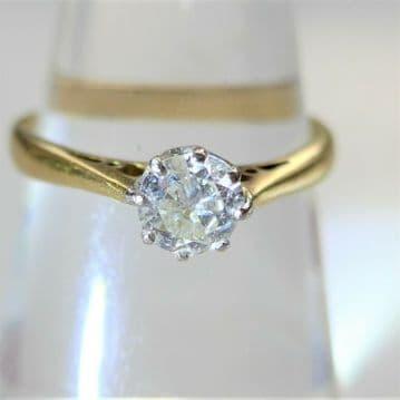 SPARKLER! 18CT GOLD Solitaire Diamond Engagement Ring .40Carat  Size: K 1/2
